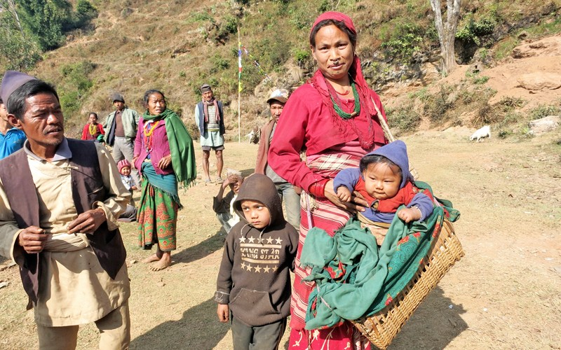 Earthquake survivors of Tamang community wait for relief materials in Batase of Sindhupalchok district on Thursday, January 28, 2016. Photo: RSS