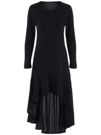 Ankle Length High Low Long Sleeve Dress, BLACK, XL in Long ...