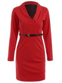 Long Sleeve Belted Shawl Collar Sheath Dress, RED, M in ...