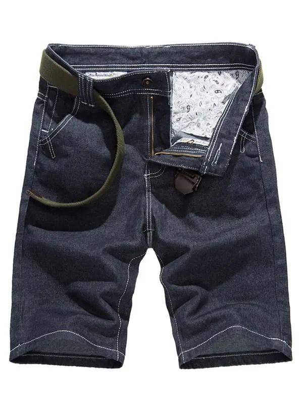 2018 Stitching Design Pure Color Denim Shorts For Men DENIM BLUE In