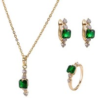 2018 Faux Emerald Necklace Ring and Earrings GOLDEN In ...