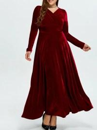2018 Plus Size Long Sleeve Velvet Maxi Formal Swing Dress ...