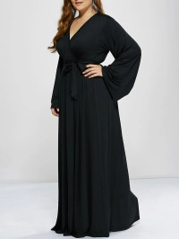 2018 Plus Size Long Sleeve Modest Maxi Formal Dress BLACK ...