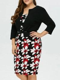 2018 Plus Size Mid Length Pencil Peplum Dress BLACK XL In ...