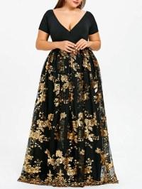 2018 Plus Size Sequined Floral Maxi Formal Dress BLACK XL ...