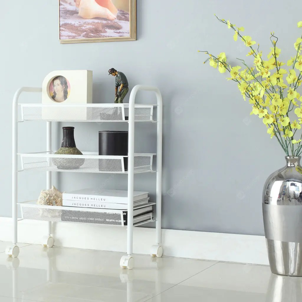 Mesh Shelving Cart 3 White Langria 3 Tier Metal Mesh Rolling Cart For Kitchen Pantry Office Bedroom Bathroom Washroom Laundry All Purpose Space Saving Storage