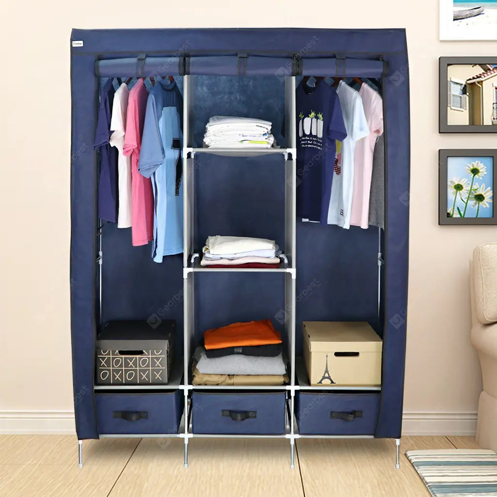Clothes Storage Wardrobe 3 Doors 3 Drawers Blue Finether 3 Door Portable Zip Closet Wardrobe Clothes Storage Organizer Rack With Non Woven Fabric Cover 8
