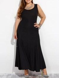 Black L Plus Size Sleeveless Maxi Formal Dress | Rosegal.com