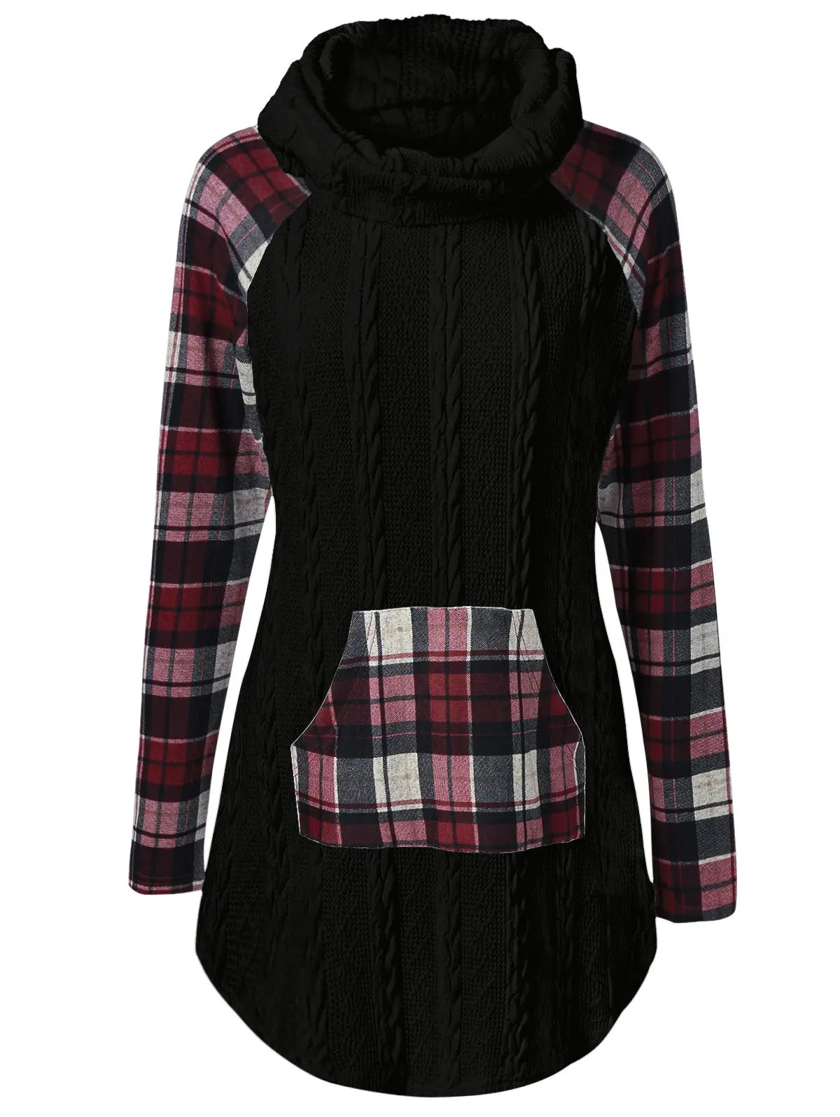 Plaid Tres Chaud Plaid Cable Knit Tunic Sweater
