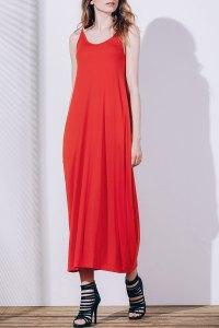 Orange Red Xl Casual Tea Length Slip Summer Dress ...