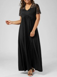 2018 Plus Size Lace Insert Maxi Formal Dress With Sleeves ...
