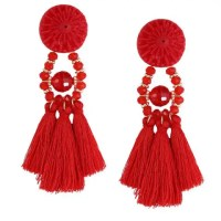 Red Resin Circle Beaded Tassel Earrings | Rosegal.com
