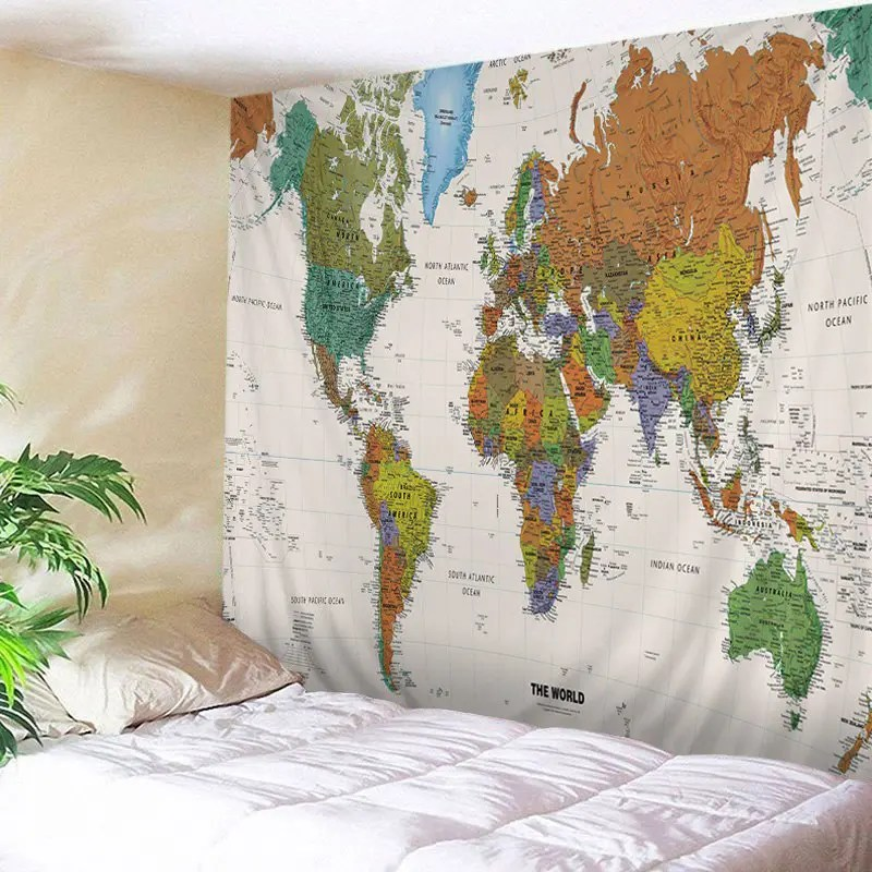 42 OFF  2019 World Map Print Tapestry Wall Hanging Art Decoration