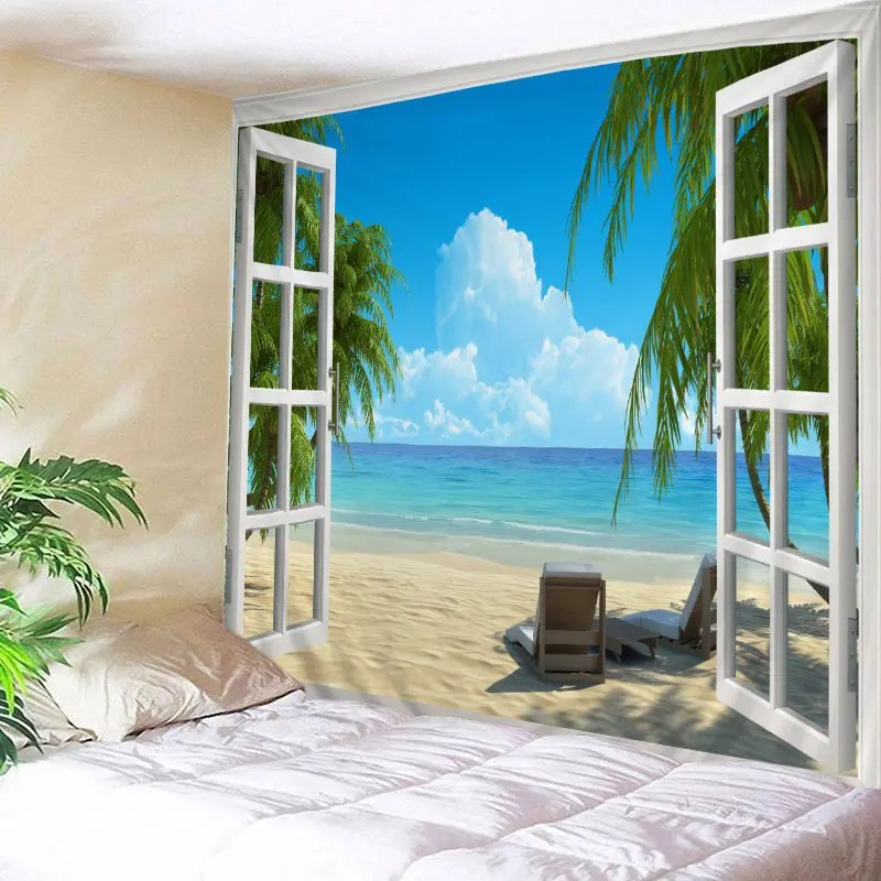 2018 Window Beach View Print Tapestry Wall Hanging Art