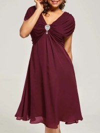 Wine Red 5xl Plus Size Cap Sleeve Chiffon Ruched Dress ...