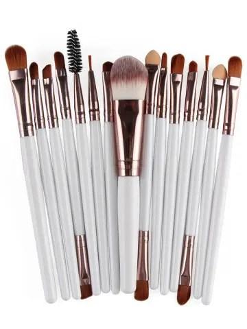 Shops Stylish Multifunction 15 Pcs Plastic Handle Nylon Makeup Brushes Set