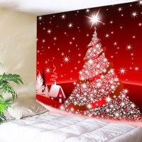 Red W91 Inch * L71 Inch Christmas Tree Star Print Tapestry ...