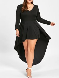 2018 Plus Size Long Sleeve Cocktail Dress In Black Xl ...