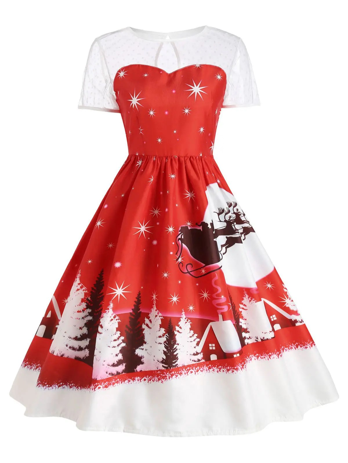 Kerst Jurk 2019 Santa Claus Deer Vintage Christmas Dress Rosegal