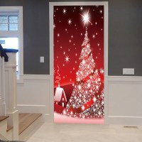 Red 38.5*200cm*2pcs Sparkling Christmas Tree Pattern Door ...