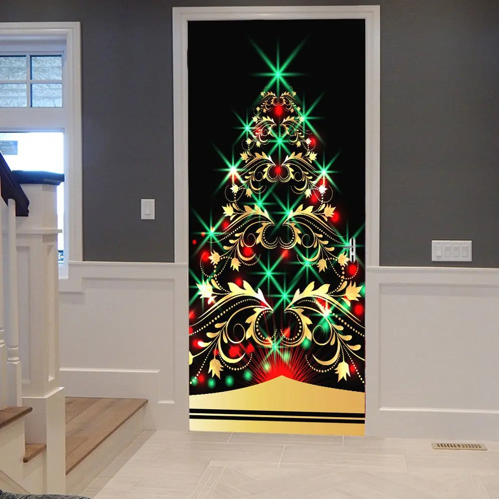 2018 Sparkling Christmas Tree Pattern Door Decor Stickers