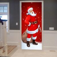 2018 Santa Claus Pattern Christmas Decor Door Stickers ...