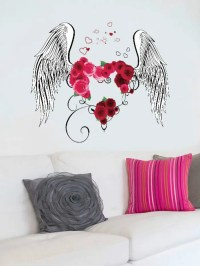 Multi Flower Heart Wings Print Wall Stickers For Bedrooms ...