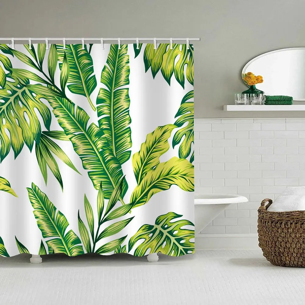 Banana Leaf Shower Curtain Bk150 Banana Leaf Shower Curtain