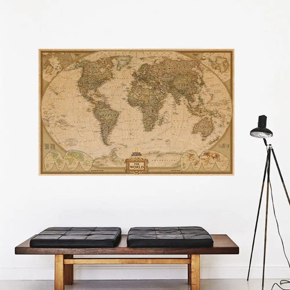 World Map Decorations Eth0210 World Map Kraft Paper Poster Home Decorations Wall Sticker