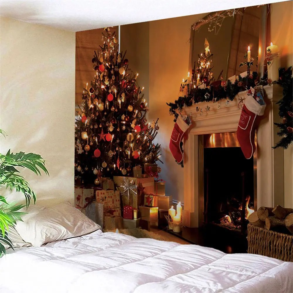 Wall Decoration Murale 2019 Christmas Fireplace Printed Wall Decor Tapestry