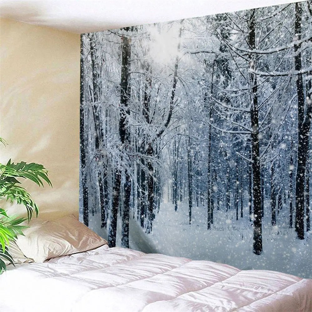 2018 Snow Forest Print Tapestry Wall Hanging Art