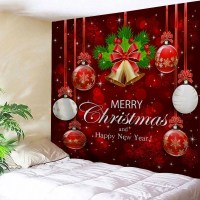 2019 Wall Decor Merry Christmas Bell Ball Tapestry ...