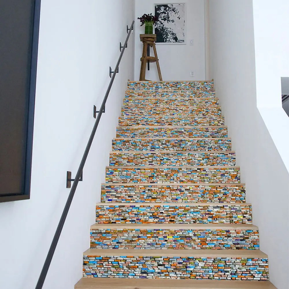 Carreaux Vinyle Autocollant [48% Off] Colored Stones Style Stair Sticker Wall Decor