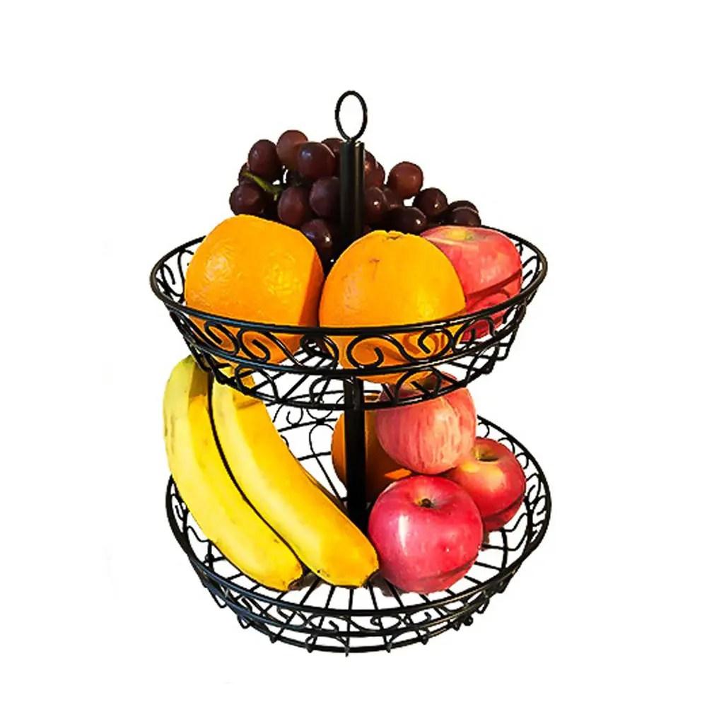 2019 2 Tier Countertop Fruit Basket Holder Decorative Bowl