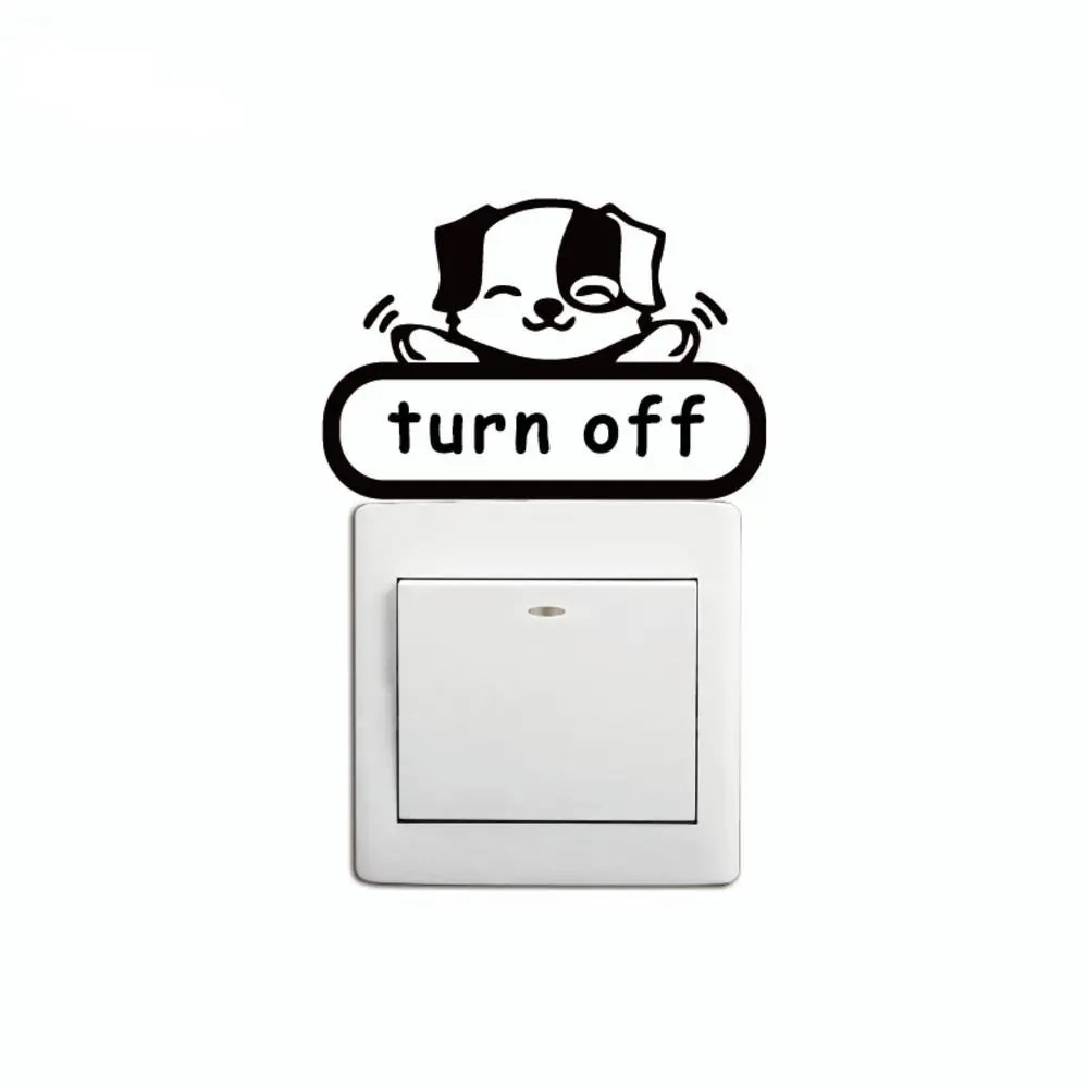 Conserve Electricity Dsu Cartoon Turning Off Lights To Conserve Electricity Switch Stickers Living Room Wall Sticker