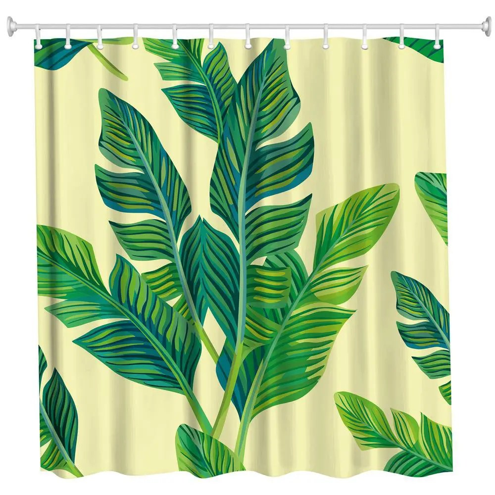 Banana Leaf Shower Curtain Banana Leaf With Yellow Background Polyester Shower Curtain Bathroom High Definition 3d Printing Water Proof