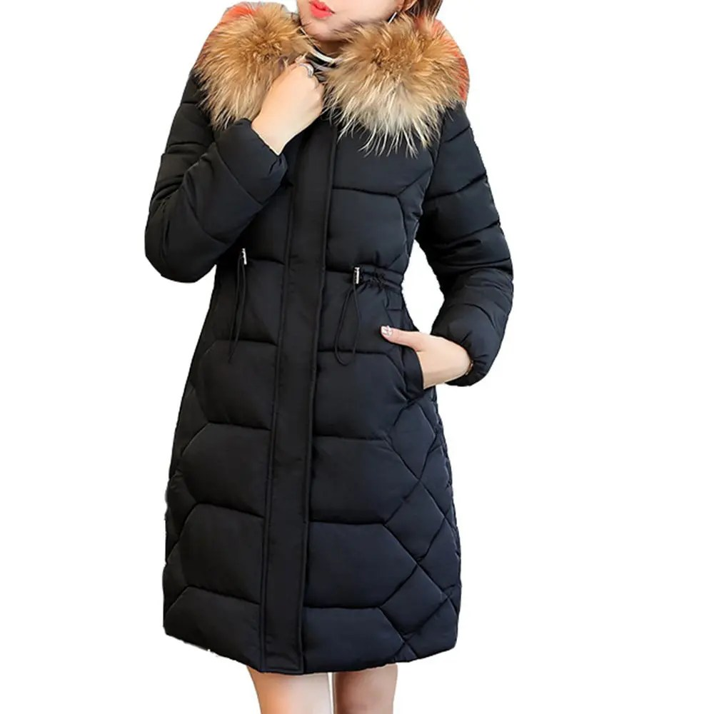 Fur Womens Fashion Winter Jacket With Fur Collar Warm Hooded Female Womens Winter Coat