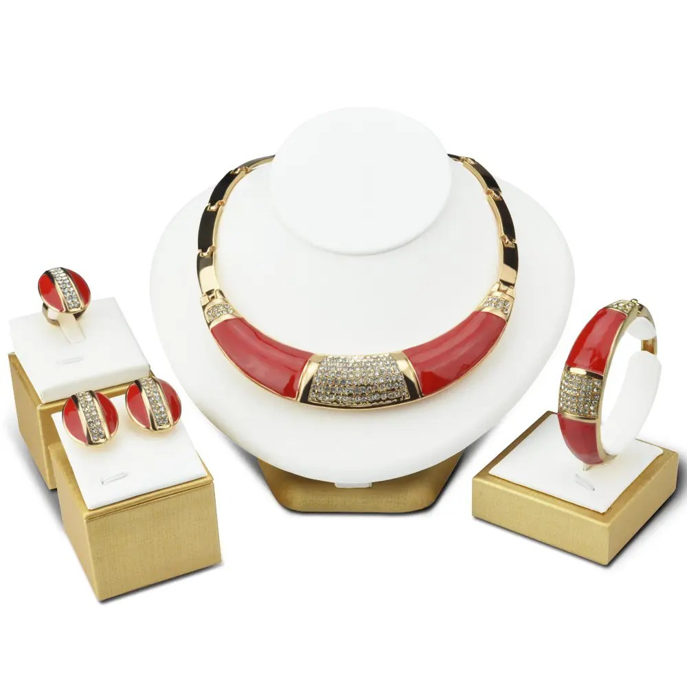 Schmuck Shops Statement Bridal Necklace Set Red Jewel Dubai Gold Color Jewelry Schmuck Crystal