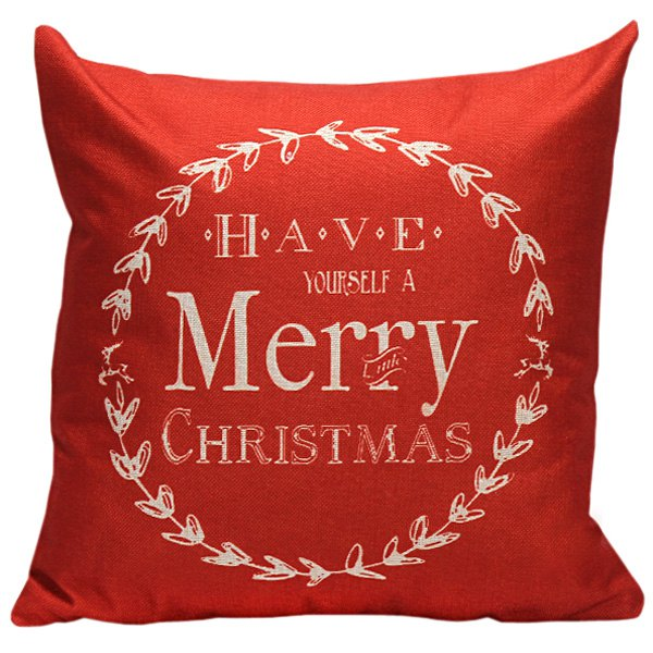 Red Merry Christmas Linen Cushion Throw Pillow Cover
