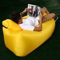 Yellow Portable Inflatable Lazy Sofa Beach Chair With ...