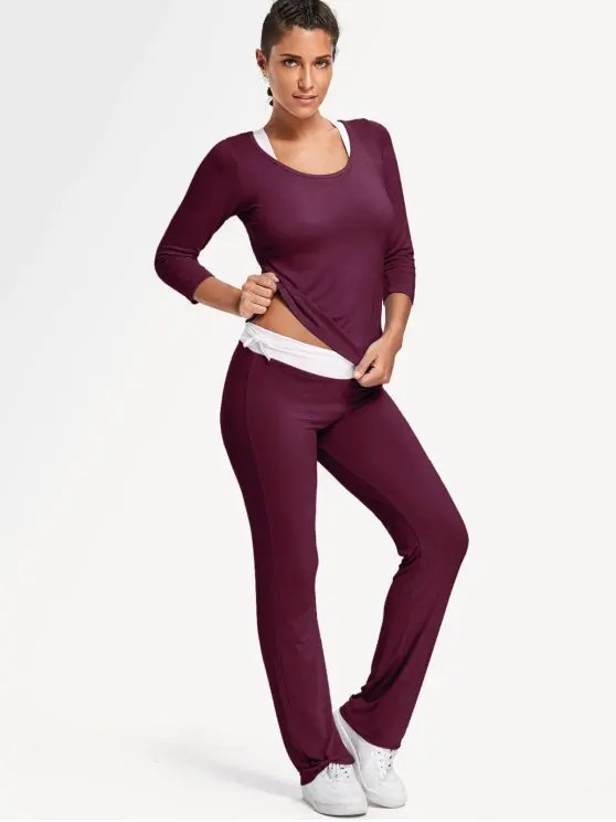 2018 Sporty Bra With T-shirt With Pants Yoga Suit In BURGUNDY L ZAFUL