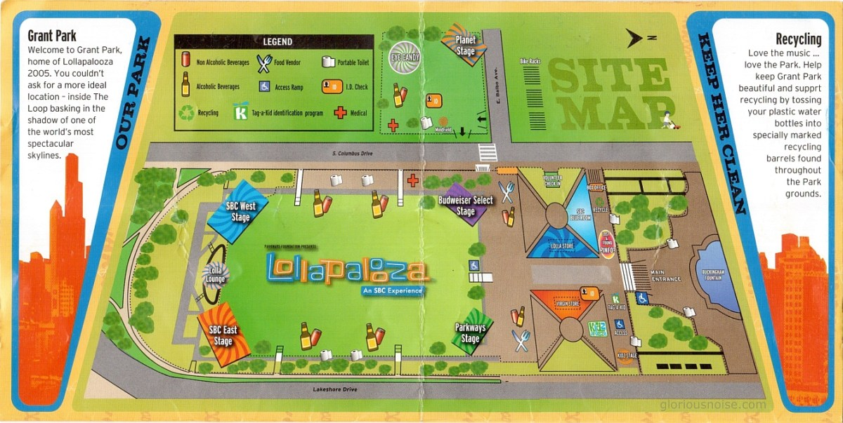 Lollapalooza 2005 Map and Schedule
