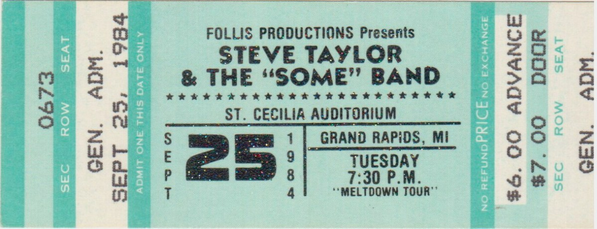 "Ticketstubs: Steve Taylor and ""Some"" Band, 1984"