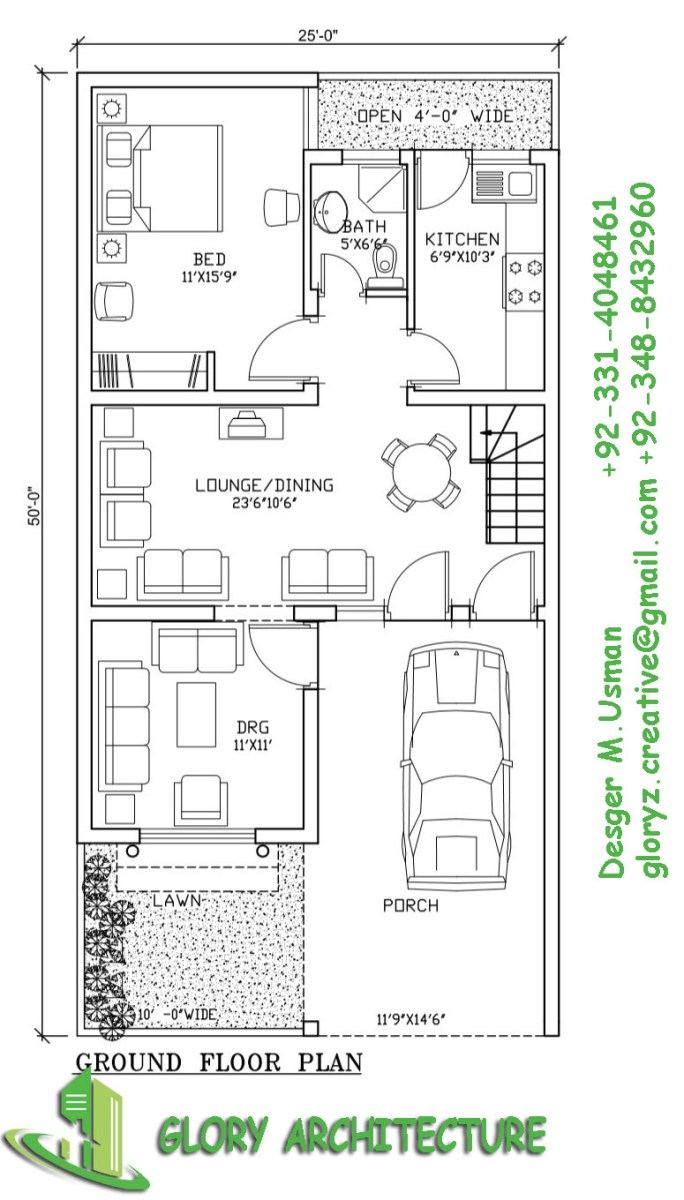 25×50 house plan,5 Marla house plan – Glory Architecture