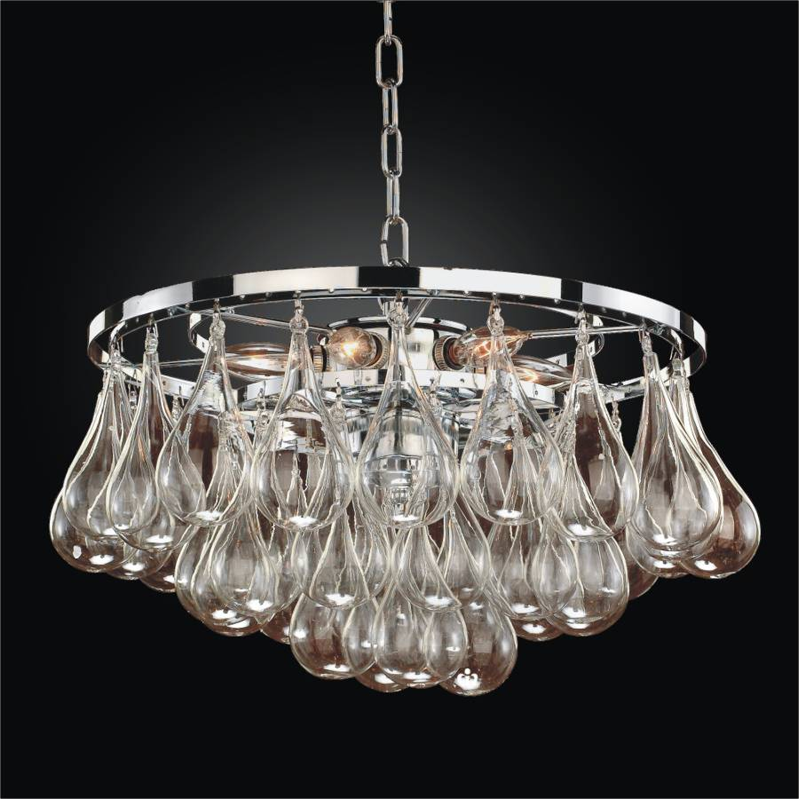 Chrome Kitchen Island Cart Blown Glass Pendant Light | Concorde 615 – Glow® Lighting