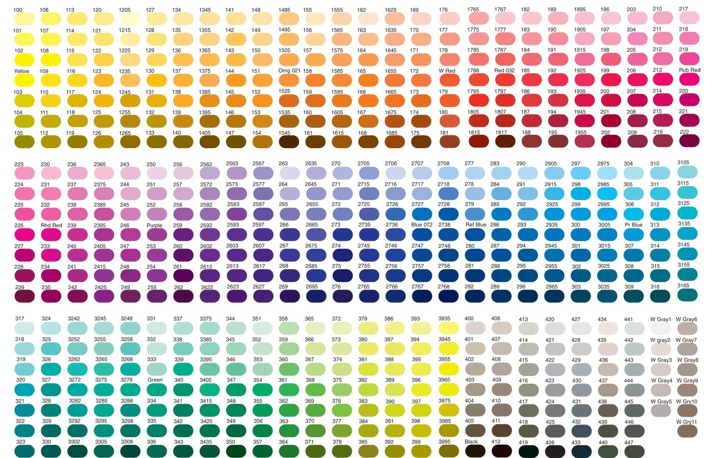 100 color chart
