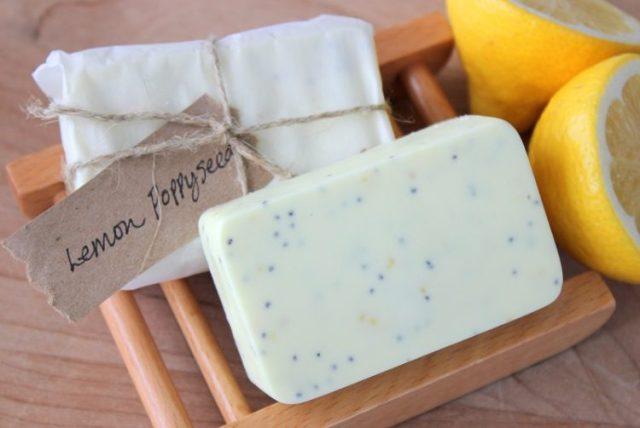 Homemade Lemon Poppyseed Soap www.gluesticksblog.com