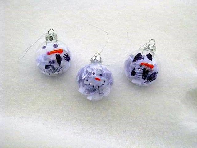 January ornaments gluesticks for Clear ornament snowman craft