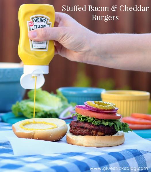 Bacon and Cheddar Stuffed Burgers   Gluesticks