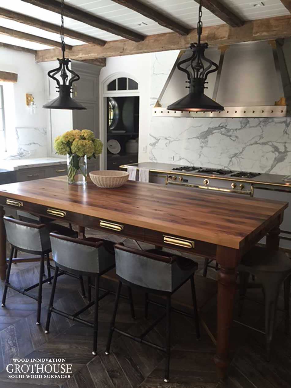 Kitchen Island Antique Reclaimed Chestnut Wood Table In East Hampton, Ny